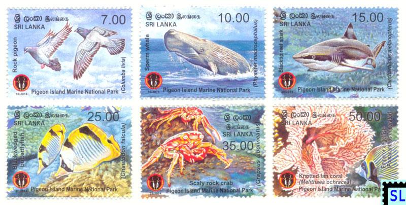 Sri Lanka Postage Stamps 2014 Pigeon Island Marine